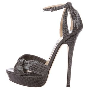 Jimmy Choo Grey Greta Snakeskin Ankle Strap Heels